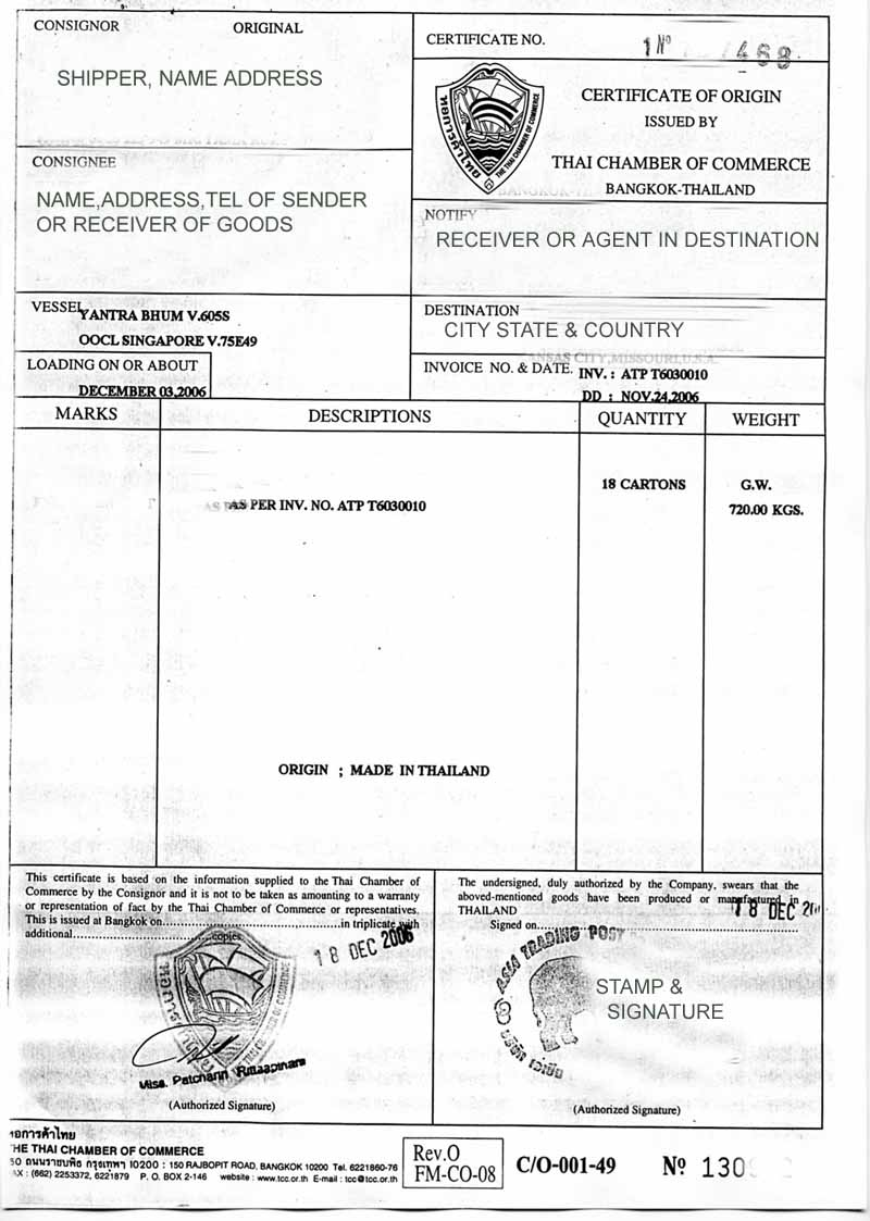 Thailand Certificate of origin and what it means in Thailand – Country of Origin Document